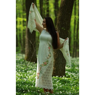 "Embroidered dress ""Double White"" with scarf"