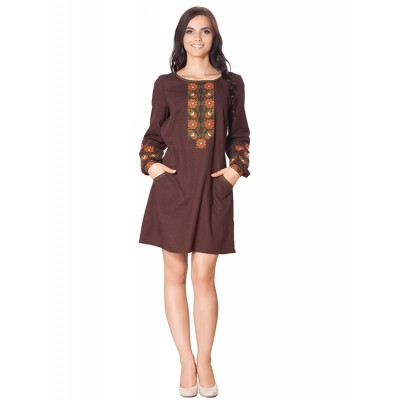 "Embroidered dress ""Brown Luxe"""