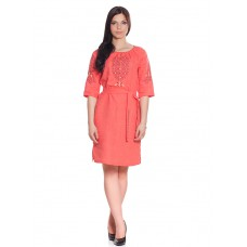 "Embroidered dress ""Peach Path"""