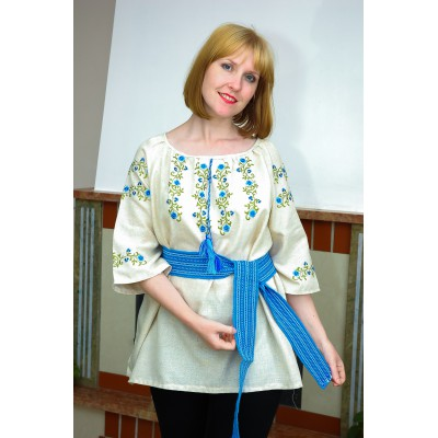 "Embroidered blouse ""Cornflowers on Linen"""