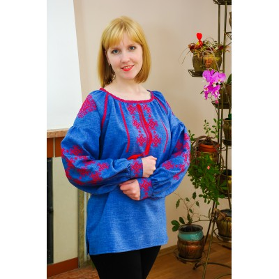 "Embroidered blouse ""Blue Thunder"""