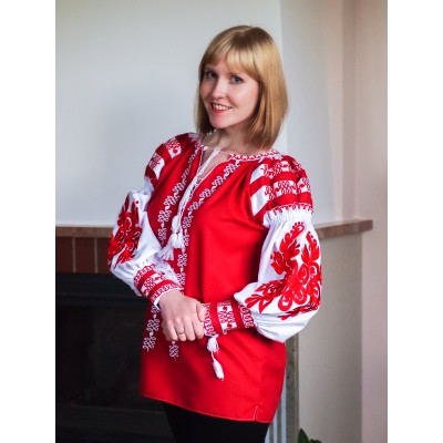 "Embroidered blouse ""Bohemian Red"""