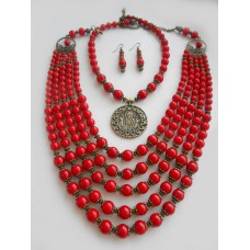Necklace Namysto of real corals with medallion and earrings set 5+1 threads