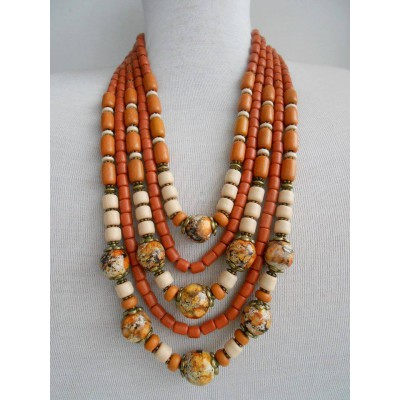 Necklace Korali of ceramic beads brown mix 5 threads