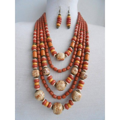Necklace Korali of ceramic beads colourful mix 5 threads