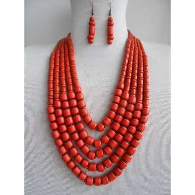 Necklace Korali of ceramic beads red 5 threads 3