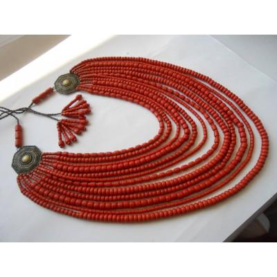 Necklace Korali of ceramic beads blue/orange 12 threads
