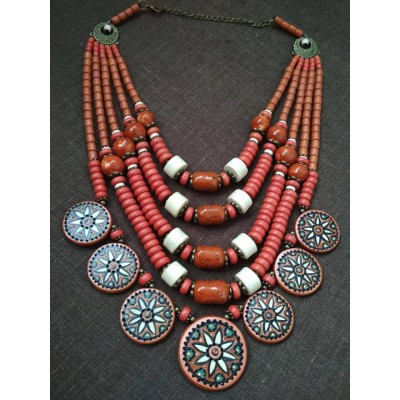 Necklace Dukaty of ceramic beads red/white