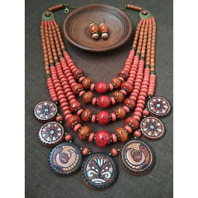 Necklace Dukati of ceramic beads red/orange