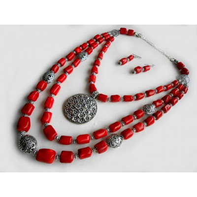 Necklace Dukati and earrings of real coral with decoration 2