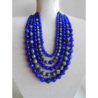 "Necklace ""Ultramarine"" of cat's eye natural gemstone 5 threads"