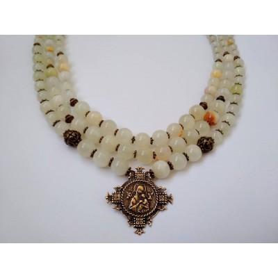 Necklace Gutsul Zgarda of real onyx gemstone with brass cross