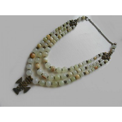 Necklace Gutsul Zgarda of white onyx natural gemstone with cross