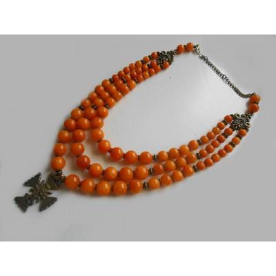 Necklace Gutsul Zgarda of orange onyx natural gemstone with cross