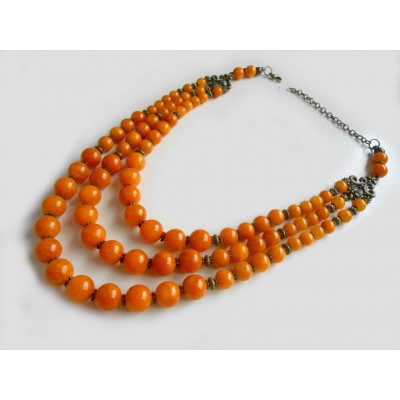 Necklace of orange onyx natural gemstone 3 threads