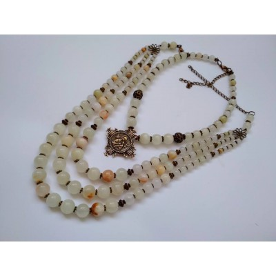 Necklace set Zgarda of white onyx natural gemstone and pendant 3+1 threads