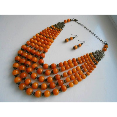 Necklace and earrings of orange onyx natural gemstone 5 threads