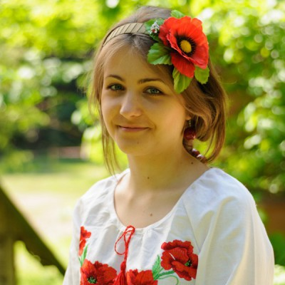 "Ukrainian Headdress ""Poppy on hairband"""