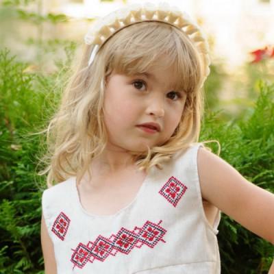 """Ukrainian Headdress """"White Roses on Hairband"""""""