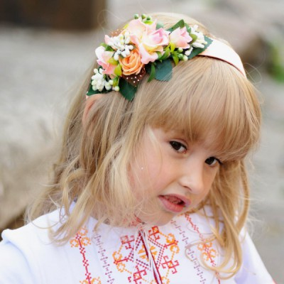 "Ukrainian Headdress ""Pink Flowers on Hair band"""