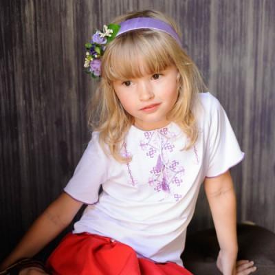 "Ukrainian Headdress ""Violet Flowers on Hair band"""