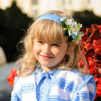 "Ukrainian Headdress ""Blue Flowers on Hair band"""