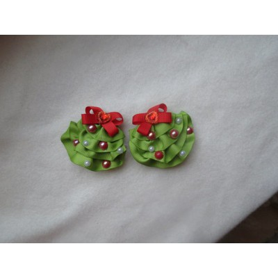 "Hairclip (pair) ""Christmas Tree"""
