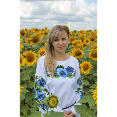 "Beads Embroidered Blouse ""Ukrainian Bluebell"""