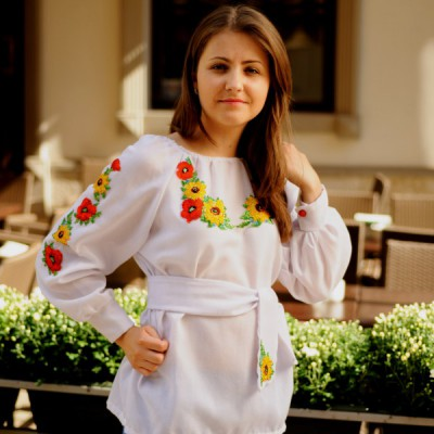 """Beads Embroidered Blouse """"Garden Flowers"""""""