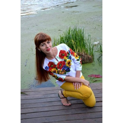 "Beads Embroidered Blouse ""Sunflowers in Summer"""