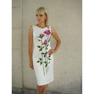 "Beads Embroidered Dress ""Delicate Roses"""