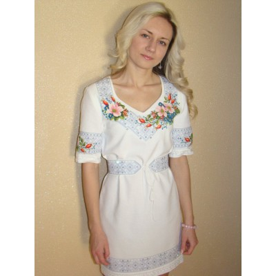 "Beads Embroidered Dress ""Blossom of the Spring"""