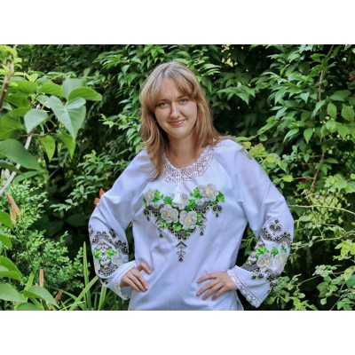 "Beads Embroidered Blouse ""Rose Perfume"""