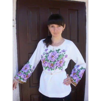 "Beads Embroidered Blouse ""Purple Haze"""