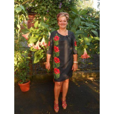"Beads Embroidered Dress ""Classic Poppies"""