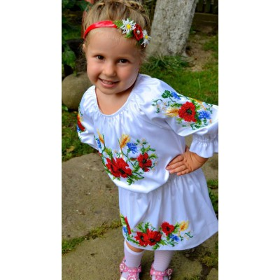 """Beads Embroidered Dress for girl """"Summer Baby"""""""