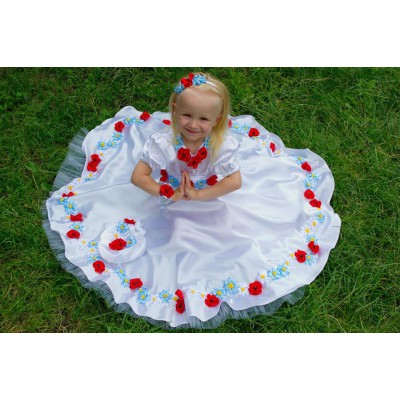 """Beads and Ribbons Embroidered Dress and Handbag for girl """"Tender"""""""