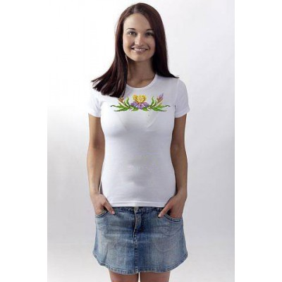 "Beads Embroidered T-shirt ""Wildflowers"""