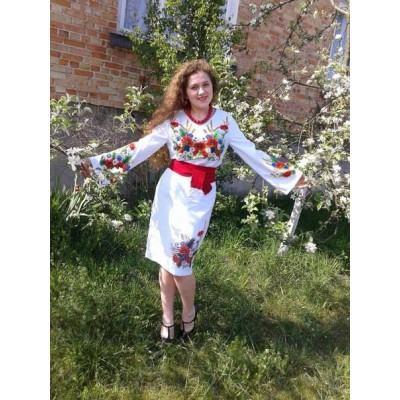 "Beads Embroidered Dress ""Summer Flowers"""