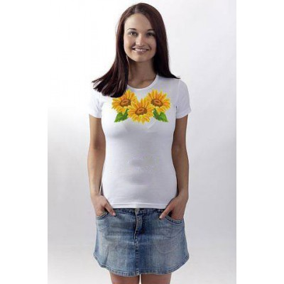 "Beads Embroidered T-shirt ""Sunflowers"""