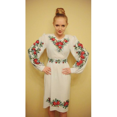 "Beads Embroidered Dress ""Bouquet of Roses"""