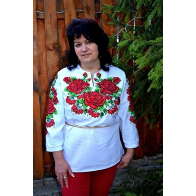 "Beads Embroidered Blouse ""Winter Roses"""