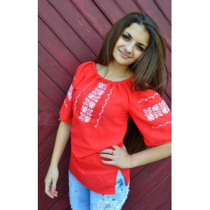 """Embroidered blouse """"Red Style 2"""""""