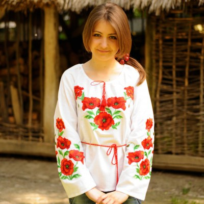 "SALE!! Embroidered blouse ""Awesome Poppies"", size M1"
