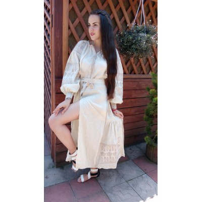 Boho Style Ukrainian Embroidered Midi Broad Dress Cream Colour