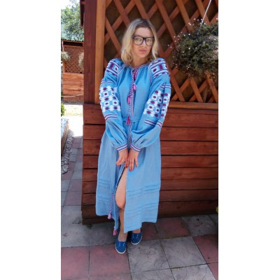 Boho Style Ukrainian Embroidered Maxi Narrow Dress Light Blue with White/Brown Embroidery