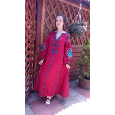 Boho Style Ukrainian Embroidered Maxi Mauve Dress with Black/Blue Embroidery