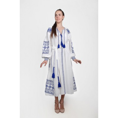 Boho Style Ukrainian Embroidered Maxi Broad Dress White with Dark Blue Embroidery