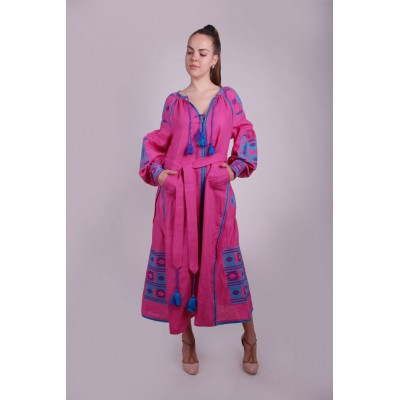 Boho Style Ukrainian Embroidered Maxi Broad Dress Pink with Turquoise/Violet Embroidery