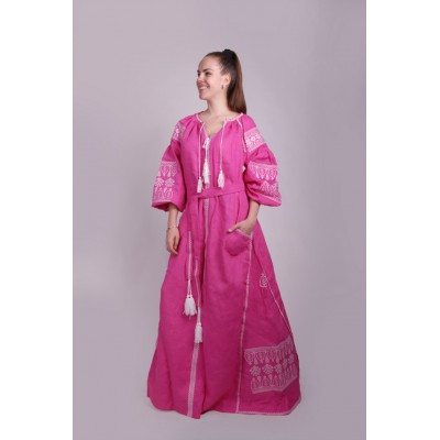Boho Style Ukrainian Embroidered Maxi Broad Dress Pink with White Embroidery